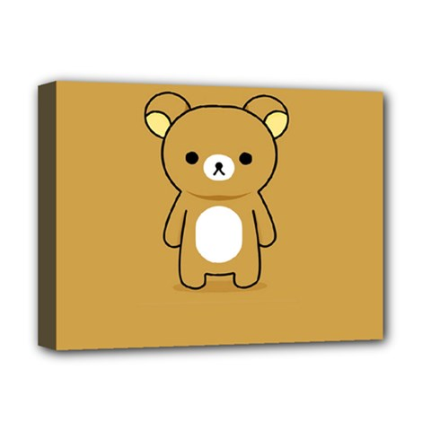 Bear Minimalist Animals Brown White Smile Face Deluxe Canvas 16  x 12