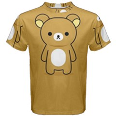 Bear Minimalist Animals Brown White Smile Face Men s Cotton Tee