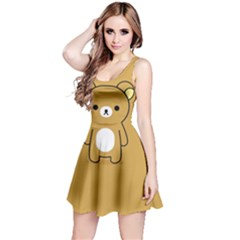 Bear Minimalist Animals Brown White Smile Face Reversible Sleeveless Dress