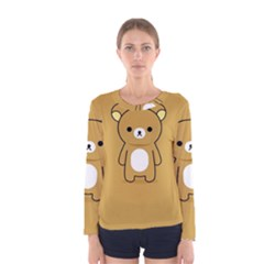 Bear Minimalist Animals Brown White Smile Face Women s Long Sleeve Tee