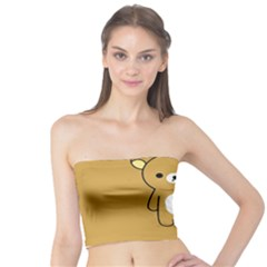 Bear Minimalist Animals Brown White Smile Face Tube Top