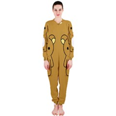 Bear Minimalist Animals Brown White Smile Face OnePiece Jumpsuit (Ladies)