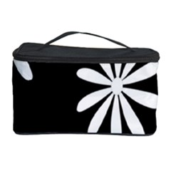 Black White Giant Flower Floral Cosmetic Storage Case