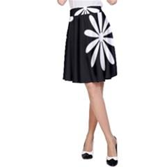 Black White Giant Flower Floral A-Line Skirt