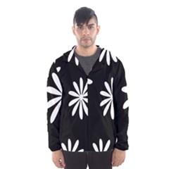 Black White Giant Flower Floral Hooded Wind Breaker (men)
