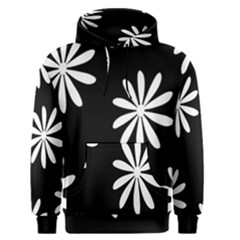 Black White Giant Flower Floral Men s Pullover Hoodie