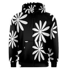 Black White Giant Flower Floral Men s Zipper Hoodie