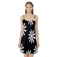 Black White Giant Flower Floral Satin Night Slip