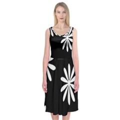 Black White Giant Flower Floral Midi Sleeveless Dress