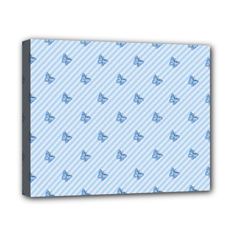 Blue Butterfly Line Animals Fly Canvas 10  x 8