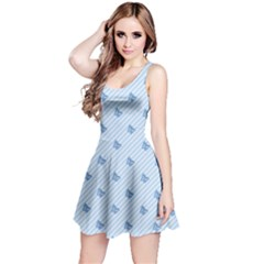 Blue Butterfly Line Animals Fly Reversible Sleeveless Dress