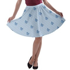 Blue Butterfly Line Animals Fly A-line Skater Skirt