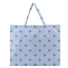 Blue Butterfly Line Animals Fly Zipper Large Tote Bag