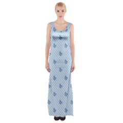 Blue Butterfly Line Animals Fly Maxi Thigh Split Dress