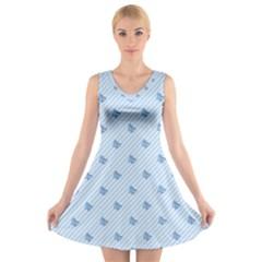 Blue Butterfly Line Animals Fly V-Neck Sleeveless Skater Dress