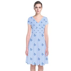Blue Butterfly Line Animals Fly Short Sleeve Front Wrap Dress