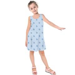Blue Butterfly Line Animals Fly Kids  Sleeveless Dress