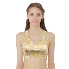 Wheels Star Gold Circle Yellow Sports Bra with Border