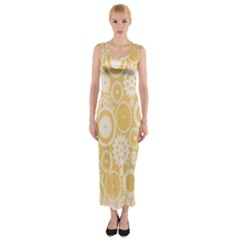 Wheels Star Gold Circle Yellow Fitted Maxi Dress