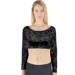 Boxs Black Background Pattern Long Sleeve Crop Top