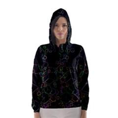 Boxs Black Background Pattern Hooded Wind Breaker (women)
