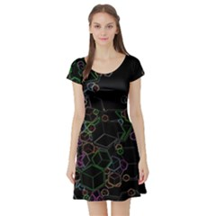 Boxs Black Background Pattern Short Sleeve Skater Dress