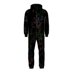 Boxs Black Background Pattern Hooded Jumpsuit (Kids)