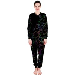 Boxs Black Background Pattern OnePiece Jumpsuit (Ladies)