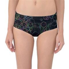 Boxs Black Background Pattern Mid-Waist Bikini Bottoms