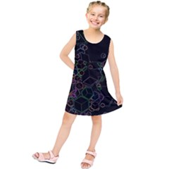 Boxs Black Background Pattern Kids  Tunic Dress