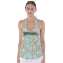 Fish Animals Brown Blue Line Sea Beach Babydoll Tankini Top