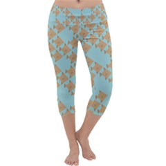 Fish Animals Brown Blue Line Sea Beach Capri Yoga Leggings