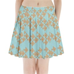 Fish Animals Brown Blue Line Sea Beach Pleated Mini Skirt