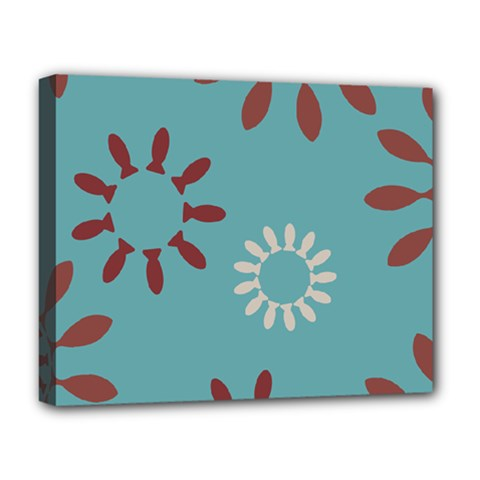 Fish Animals Star Brown Blue White Deluxe Canvas 20  x 16