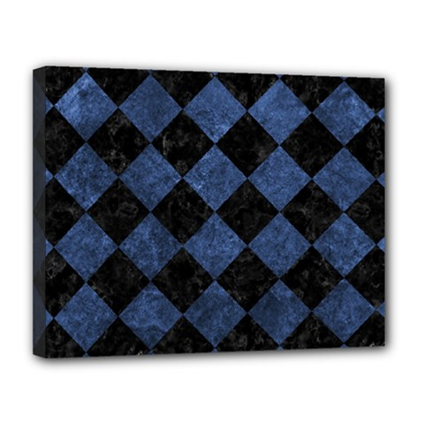 Square2 Black Marble & Blue Stone Canvas 14  X 11  (stretched)