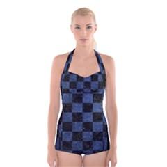 SQR1 BK-MRBL BL-STONE Boyleg Halter Swimsuit