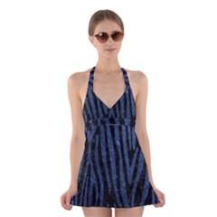 SKN4 BK-MRBL BL-STONE (R) Halter Swimsuit Dress