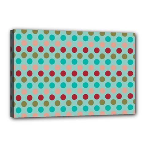 Large Circle Rainbow Dots Color Red Blue Pink Canvas 18  X 12