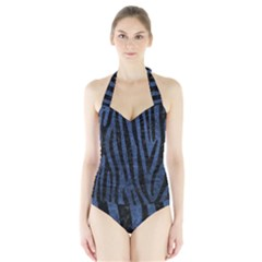SKN4 BK-MRBL BL-STONE Halter Swimsuit