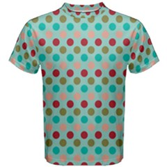 Large Circle Rainbow Dots Color Red Blue Pink Men s Cotton Tee