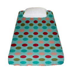 Large Circle Rainbow Dots Color Red Blue Pink Fitted Sheet (single Size)