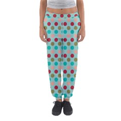 Large Circle Rainbow Dots Color Red Blue Pink Women s Jogger Sweatpants