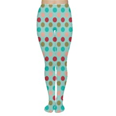 Large Circle Rainbow Dots Color Red Blue Pink Women s Tights