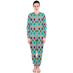 Large Circle Rainbow Dots Color Red Blue Pink OnePiece Jumpsuit (Ladies)