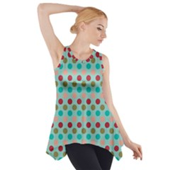 Large Circle Rainbow Dots Color Red Blue Pink Side Drop Tank Tunic