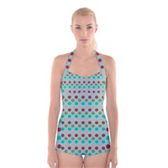 Large Circle Rainbow Dots Color Red Blue Pink Boyleg Halter Swimsuit