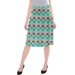 Large Circle Rainbow Dots Color Red Blue Pink Midi Beach Skirt