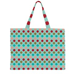 Large Circle Rainbow Dots Color Red Blue Pink Large Tote Bag