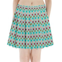 Large Circle Rainbow Dots Color Red Blue Pink Pleated Mini Skirt