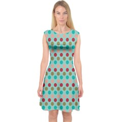 Large Circle Rainbow Dots Color Red Blue Pink Capsleeve Midi Dress
